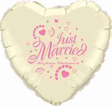 just married herzlichen glückwunsch ivory w/rose ink foil heart 18in/45cm