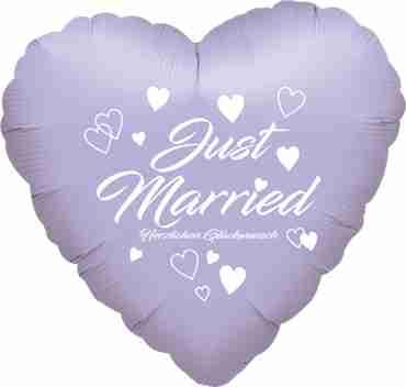 just married herzlichen glückwunsch metallic pearl pastel lilac w/white ink foil heart 17in/43cm