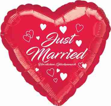 just married herzlichen glückwunsch metallic red w/white ink foil heart 17in/43cm