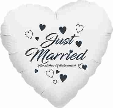 just married herzlichen glückwunsch metallic white w/anthracite ink foil heart 17in/43cm
