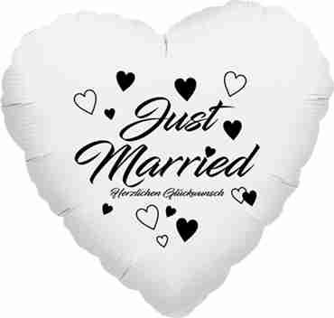 just married herzlichen glückwunsch metallic white w/black ink foil heart 18in/45cm