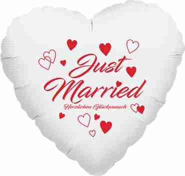 just married herzlichen glückwunsch metallic white w/red ink foil heart 17in/43cm