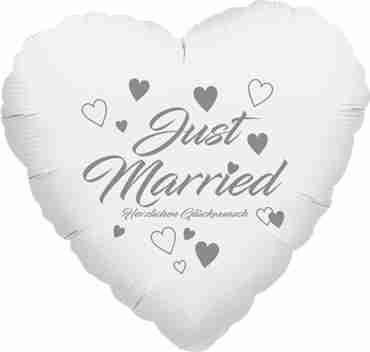 just married herzlichen glückwunsch metallic white w/silver ink foil heart 17in/43cm