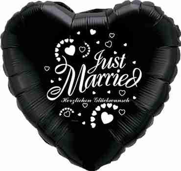 just married herzlichen glückwunsch onyx black w/white ink foil heart 18in/45cm
