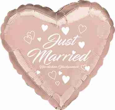 just married herzlichen glückwunsch rose gold w/white ink foil heart 17in/43cm
