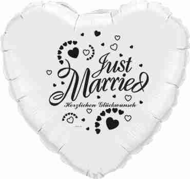 just married herzlichen glückwunsch white w/black ink foil heart 18in/45cm