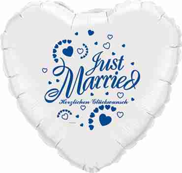 just married herzlichen glückwunsch white w/blue ink foil heart 18in/45cm