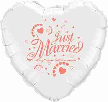 just married herzlichen glückwunsch white w/coral ink foil heart 18in/45cm