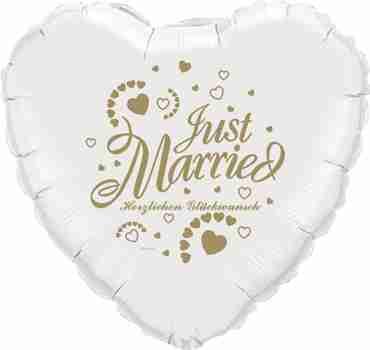 just married herzlichen glückwunsch white w/gold ink foil heart 18in/45cm
