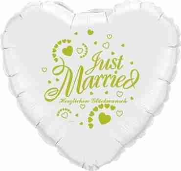 just married herzlichen glückwunsch white w/green ink foil heart 18in/45cm