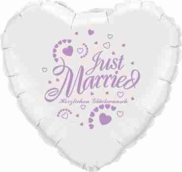 just married herzlichen glückwunsch white w/lilac ink foil heart 18in/45cm