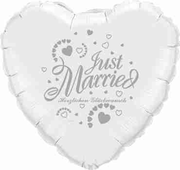 just married herzlichen glückwunsch white w/silver ink foil heart 18in/45cm