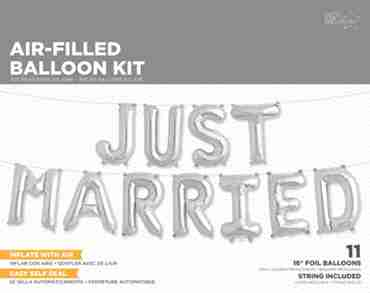 Just Married Kit Silver Foil Letters 16in/40cm