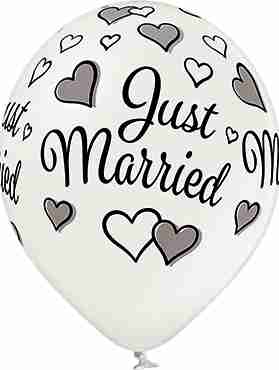 Just Married Metallic Pearl Latex Round 12in/30cm