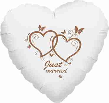 just married metallic white w/rose gold ink foil heart 17in/43cm