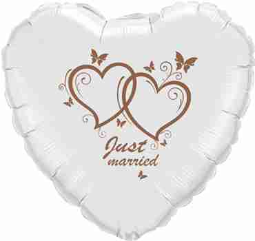 just married metallic white w/rose gold ink foil heart 18in/45cm
