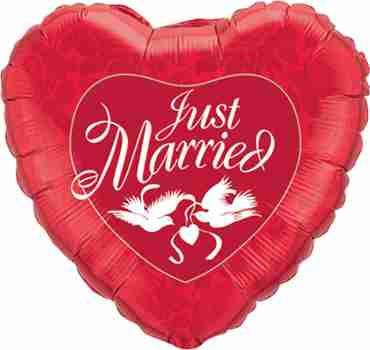 Just Married Red and White Foil Heart 36in/90cm