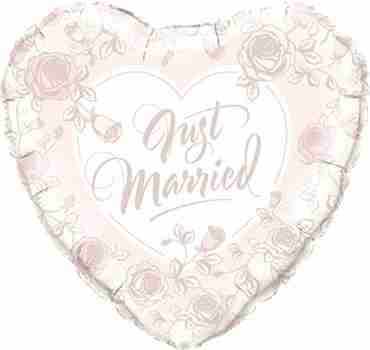 Just Married Roses Foil Heart 18in/45cm