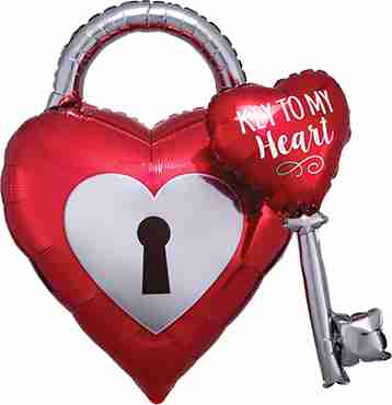 Key to my Heart Foil Shape 32in/81cm