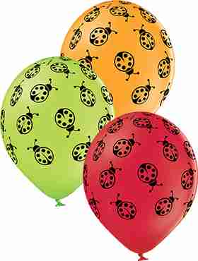 Ladybugs Pastel Apple Green, Pastel Red and Pastel Orange Assortment Latex Round 12in/30cm