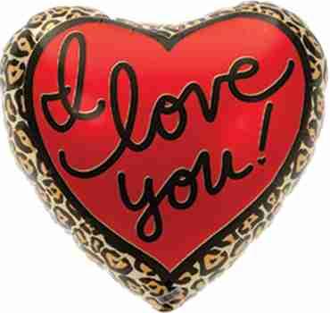 Leopard Love Foil Heart 18in/45cm