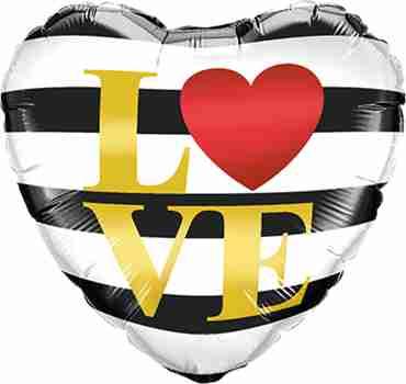 L(Heart)VE Horizontal Stripes Foil Heart 18in/45cm