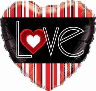 L(Heart)VE Red Stripes Foil Heart 18in/45cm