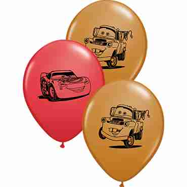 Lightning McQueen and Mater Assortment Red and Mocha Brown Assortment Latex Round 5in/12.5cm