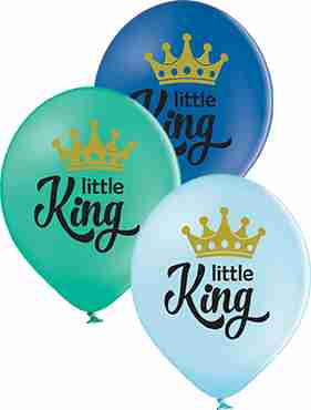 Little King Pastel Sky Blue, Pastel Forest Green and Pastel Royal Blue Assortment Latex Round 12in/30cm