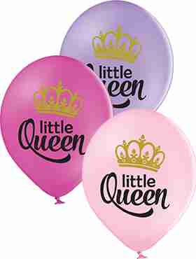 Little Queen Pastel Pink, Pastel Lavender and Pastel Rose Assortment Latex Round 12in/30cm