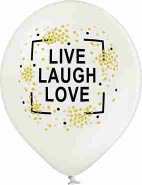 Live Laugh Love Metallic Pearl Latex Round 12in/30cm
