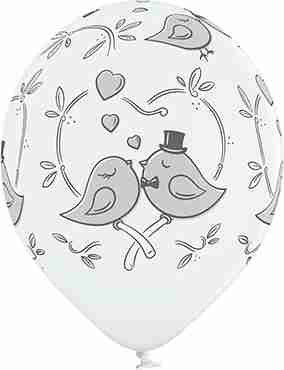 Love Birds Pastel White Latex Round 12in/30cm