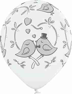 Love Birds Pastel White Latex Round 12in/30cm