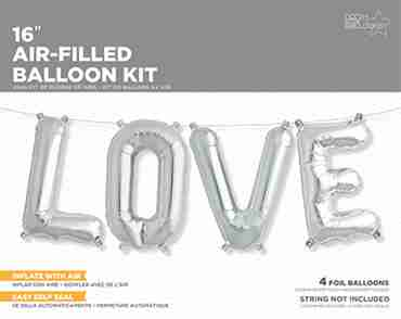 Love Kit Silver Foil Letters 16in/40cm