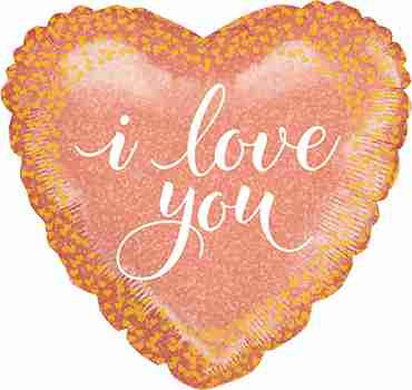 Love Rose Gold Holographic Foil Heart 18in/45cm