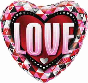 Love Triangles Foil Heart 18in/45cm