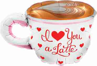 Love You A Latte Foil Shape 14in/36cm