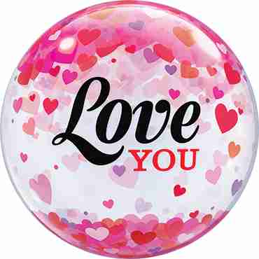Love You Confetti Heart Single Bubble 22in/50cm
