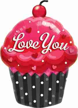love you cupcake foil shape 14in/35cm