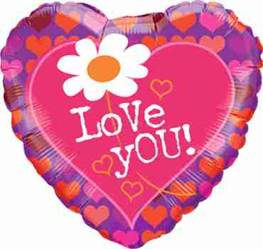 Love You! Daisy and Hearts Foil Heart 18in/45cm