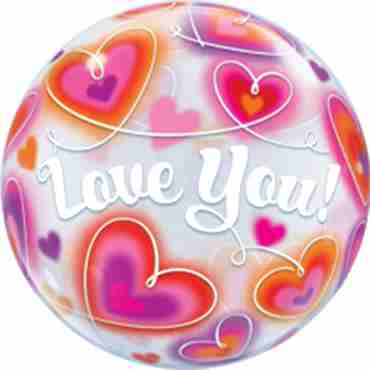 Love You Doodle Hearts Single Bubble 22in/55cm