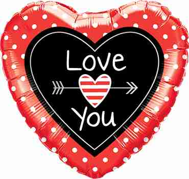 Love You Dots and Arrows Foil Heart 18in/45cm