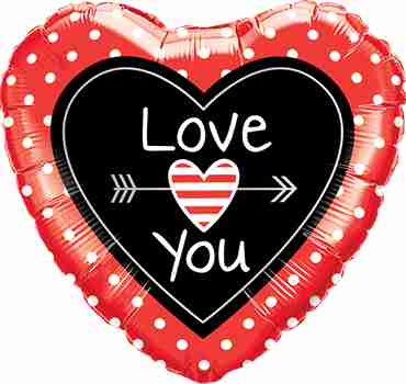 Love You Dots and Arrows Foil Heart 9in/22.5cm