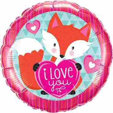 Love You Foxy Heart Foil Round 18in/45cm