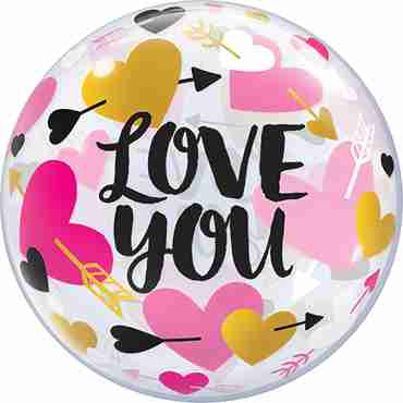 Love You Hearts and Arrows Single Bubble 22in/55cm