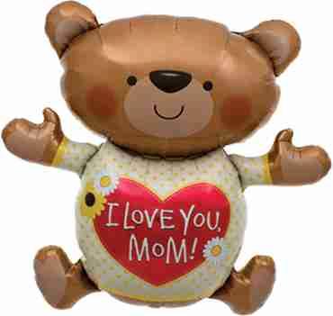 Love You Mom Bear Foil Shape 43in/109cm