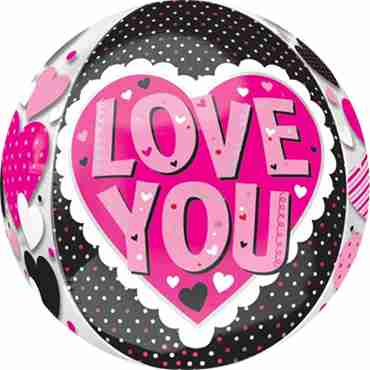 Love You Pink and Black Orbz 15in/38cm x 16in/40cm