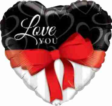Love You Red Ribbon Foil Heart 18in/45cm
