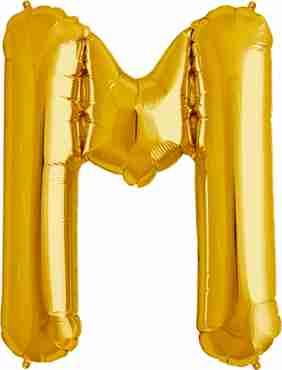 M Gold Foil Letter 16in/40cm