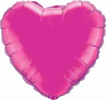 Magenta Foil Heart 18in/45cm